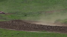 Competitions of cars of the buggy in a dirt. stock footage
