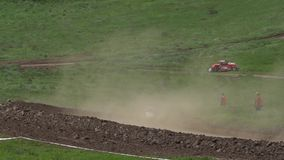 Competitions of cars of the buggy in a dirt. stock video