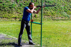 Competitions in clay pigeon shooting in the Gomel region the Republic of Belarus. Every year in the suburbs of Gomel hosts the annual regional competitions on Royalty Free Stock Images