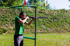 Competitions in clay pigeon shooting in the Gomel region the Republic of Belarus. Every year in the suburbs of Gomel hosts the annual regional competitions on Stock Images