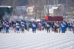 Competitions in cross-country skiing. Athletes are at the start before the race - Russia-Berezniki March 11, 2018 . Competitions in cross-country skiing Royalty Free Stock Image