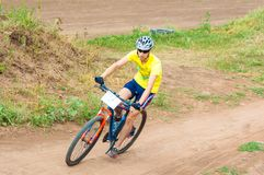 Competitions cyclists in cross-country Royalty Free Stock Photos