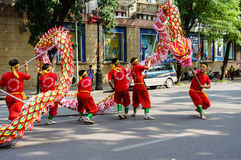 The competitions dragon dance Stock Photos