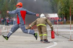 Training firefighters at the training range. royalty free stock photos