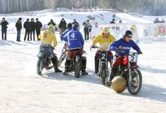 Competitions on football on a motorcycle Stock Images