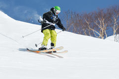 Competitions freeride snowboarders and skiers  Stock Images
