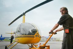 Competitions on helicopter sports in Russia. Stock Photo