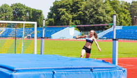 Competitions on high jump Royalty Free Stock Photos