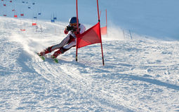 Competitions on mountain ski Stock Photos