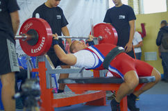 Competitions on powerlifting. The open championship of Moscow region AWPC/WPC in powerlifting and bench press, deadlift and the national press of the «Promotion Royalty Free Stock Photos