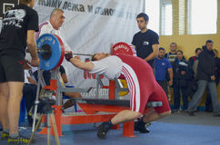 Competitions on powerlifting. The open championship of Moscow region AWPC/WPC in powerlifting and bench press, deadlift and the national press of the «Promotion Royalty Free Stock Photo