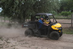 Competitions and quad bikes. Kyiv stage of the Can-Am Quest Cup Kyiv team competition 2017, Zabire, Kyiv region, Ukraine Royalty Free Stock Image