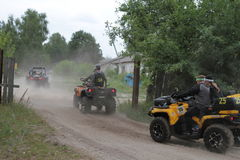 Competitions and quad bikes. Kyiv stage of the Can-Am Quest Cup Kyiv team competition 2017, Zabire, Kyiv region, Ukraine Stock Images