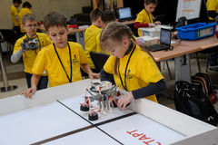 Competitions of robots among school students Royalty Free Stock Image