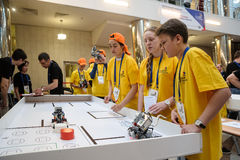Competitions of robots among school students Royalty Free Stock Photography