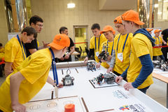 Competitions of robots among school students Stock Photo