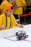 Competitions of robots among school students Stock Photos