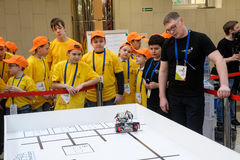 Competitions of robots among school students Stock Images