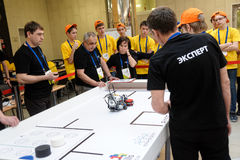 Competitions of robots among school students Royalty Free Stock Photo