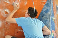 Competitions in rock climbing. City of Orenburg, Southern Ural, Russia Royalty Free Stock Photo