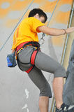 Competitions in rock climbing. City of Orenburg, Southern Ural, Russia Stock Image