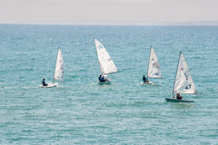 Competitions sailing in the Bay of Pomorie in Bulgaria Stock Photo