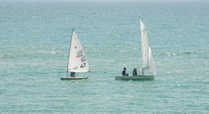 Competitions sailing in the bay of of Pomorie, Bulgaria Royalty Free Stock Photography