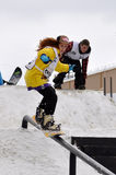 Competitions of snowboarders in the city Royalty Free Stock Photo