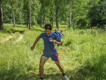 Competitions in sport orienteering at a tourism Convention in the Kaluga region of Russia. Royalty Free Stock Photography