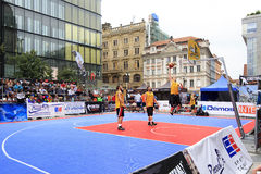 Competitions in street ball at the Wenceslas square. Royalty Free Stock Images