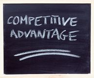 Competitive advantage. A chalkboard with the sentence competitive advantage written on it royalty free stock photos