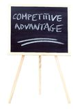 Competitive advantage on the chalkboard. A chalkboard on white with competitive advantage written on it stock images