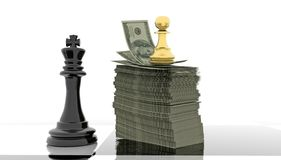 Competitive advantage chess money dollars golden pawn black king - 3d rendering. Competitive advantage chess money dollars golden pawn black king golden pwan stock photography
