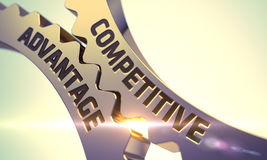 Competitive Advantage Concept. Golden Metallic Gears. 3D. Royalty Free Stock Photos
