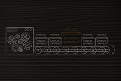 One unique internet campaign pop-up message on mass-production l. Competitive advantage conceptual illustration: one unique internet campaign pop-up message on vector illustration