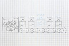 One unique product on mass-production line among other average o. Competitive advantage conceptual illustration: one unique product on mass-production line among vector illustration