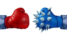 Competitive Advantage. And determination to win with two competing business people wearing boxing gloves but with one businessman who is more prepared to fight vector illustration