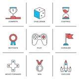 Competitive advantage line icons set. Flat line icons set of competitive advantage solution, business gamification elements, winning strategy ideas, motivation stock illustration