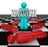 Competitive Advantage People Winner Stands Alone. One person stands as the winner with words Competitive Advantage to illustrate superior qualities and vector illustration