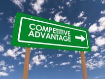 Competitive Advantage Sign. A competitive advantage sign against a blue sky with fluffy clouds royalty free stock photo
