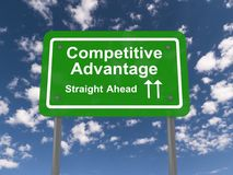 Competitive advantage sign. Competitive advantage straight ahead highway sign with directional arrows, business concept with blue sky and cloudscape background royalty free stock photography