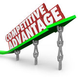 Competitive Advantage Team Lifting Words Arrow. The words Competitive Advantage on an arrow lifted by a team working together to illustrate the better qualities vector illustration