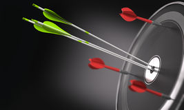 Competitive Advantage. Three green arrows hitting the center of a black target and 3 darts out of the objective. Business strategy or competitive advantage Stock Image