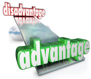 Competitive Advantage Vs Disadvantage See-Saw Balance Scale. A see-saw, scale or balance with the words Advantage and Disadvantage to illustrate the competitive Royalty Free Stock Photography