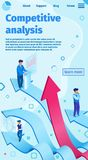 Competitive Analysis Flat Vector Illustration. Banner Landing Page. Men Business Suits Stand on Arrows and Analyze Data. Shopping Behavior Brand Loyalty stock illustration