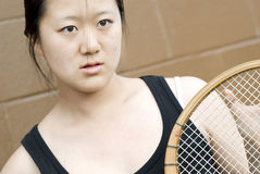 Competitive athlete looking fierce, tennis Royalty Free Stock Photography