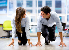 Competitive business couple Royalty Free Stock Photography