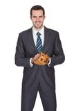 Competitive businessman with baseball glove Stock Images