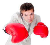 Competitive businessman beating the competition Royalty Free Stock Photo