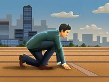 Competitive businessman at the starting line royalty free stock photos